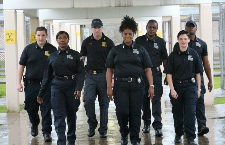 Group of patrol officers at a jail